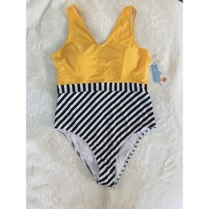Cupshe yellow and striped bathing suit